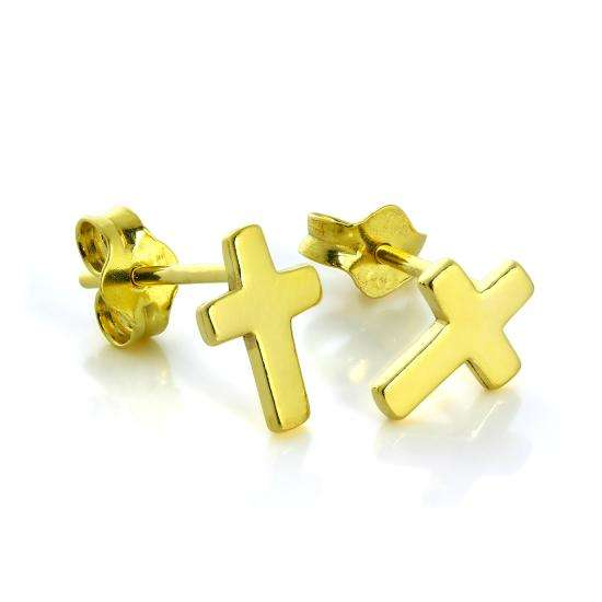 Small Gold Plated Sterling Silver Cross Stud Earrings