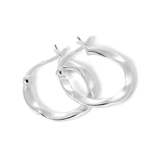 Flattened Sterling Silver Creole 17mm Hoop Earrings