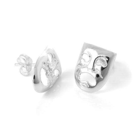 Sterling Silver Tragedy & Comedy Masks Stud Earrings