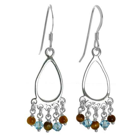 Sterling Silver & Tiger Eye Stones Chandelier Dangly Earrings
