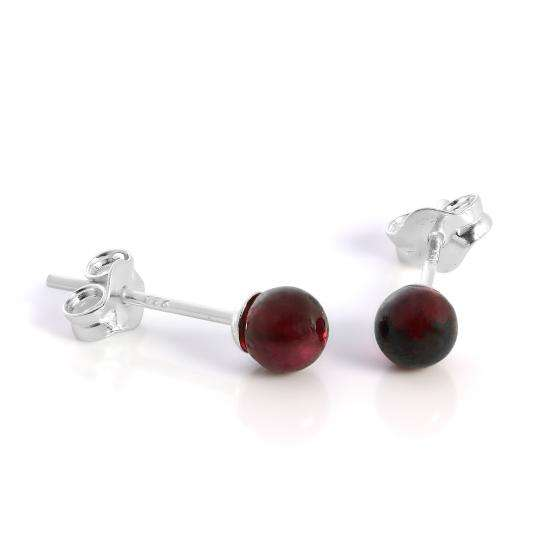 Sterling Silver & 4mm Garnet Stone Stud Earrings