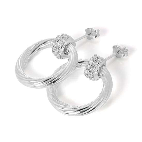 Sterling Silver & CZ Crystal Bead Stud & Hoop Earrings Studs