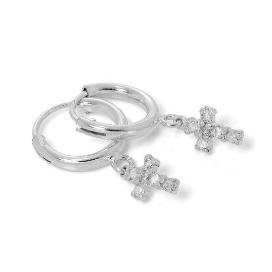 Sterling Silver Sleeper Hoop Earrings with CZ Crystal Encrusted Cross
