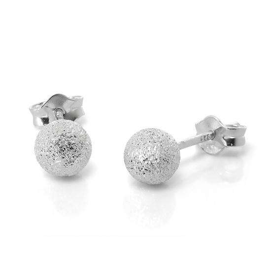 Frosted Sterling Silver Ball Stud Earrings 6mm