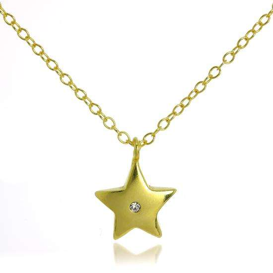 Gold Plated Sterling Silver & CZ Crystal Star Pendant Necklace on 18 Inch Chain