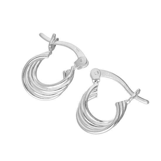 Sterling Silver Overlapping Circles Hoop Earrings