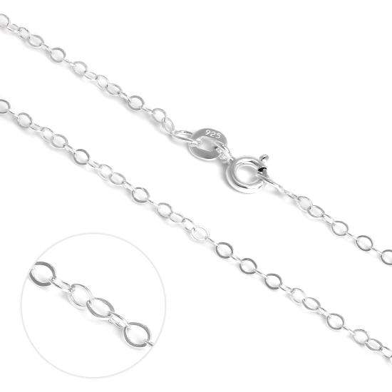 Light Sterling Silver Flat Cable Chain Necklace 16 - 22 Inches