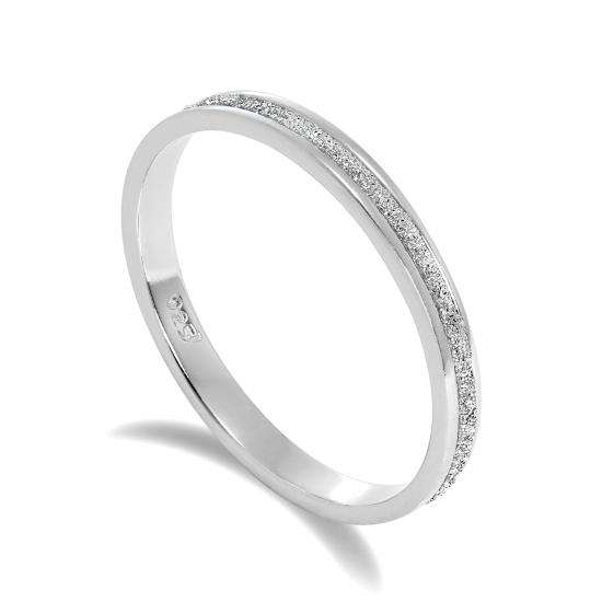 Frosted Sterling Silver Full Eternity Ring