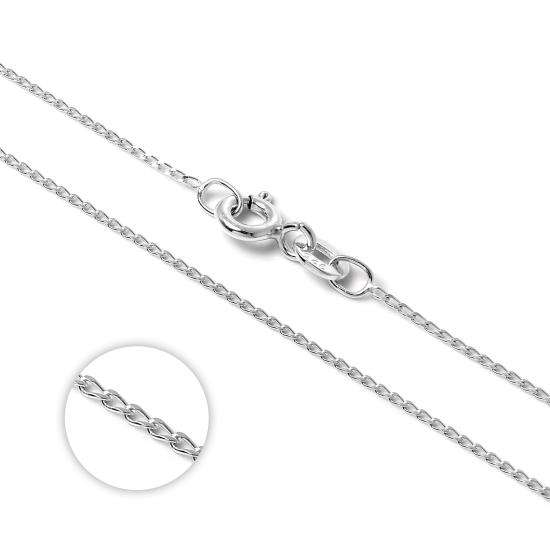 Sterling Silver Diamond Cut Elongated Curb Chain 14 - 22 Inches
