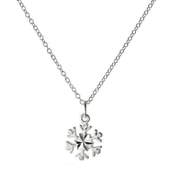 Sterling Silver 18 Inch Diamond Cut Snowflake Necklace