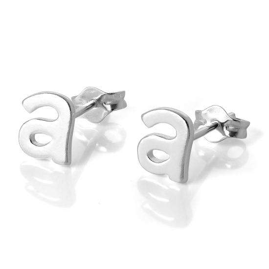 Sterling Silver Alphabet Letter A Stud Earrings