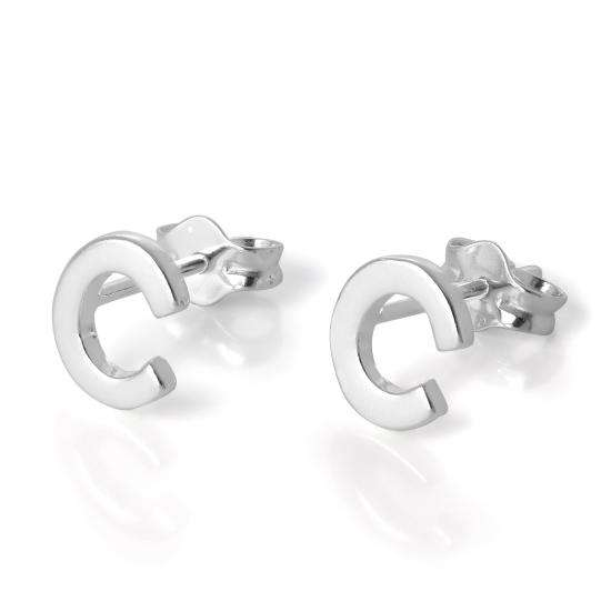 Sterling Silver Alphabet Letter C Stud Earrings