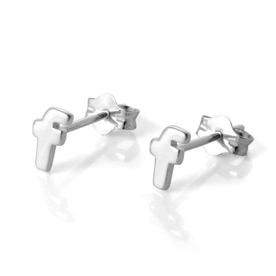 Sterling Silver Alphabet Letter F Stud Earrings