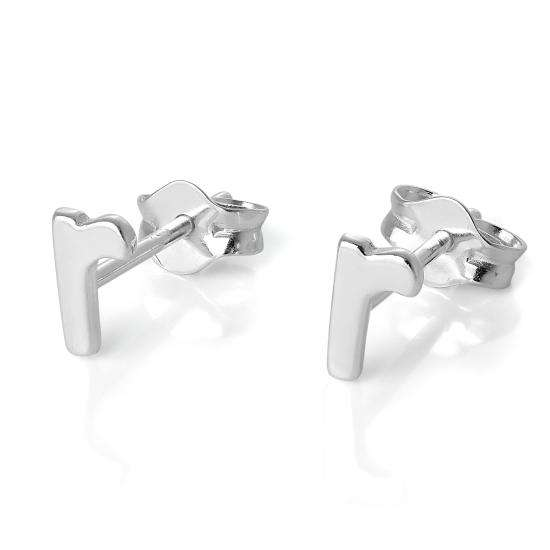 Sterling Silver Alphabet Letter R Stud Earrings