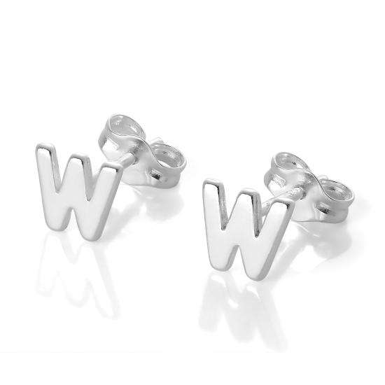 Sterling Silver Alphabet Letter W Stud Earrings