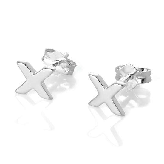 Sterling Silver Alphabet Letter X Stud Earrings