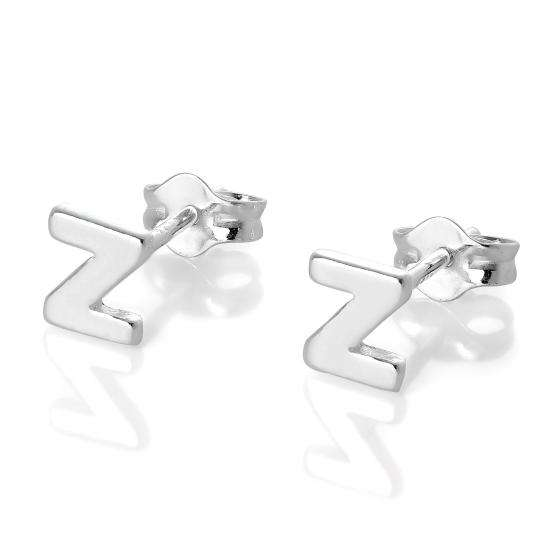 Sterling Silver Alphabet Letter Z Stud Earrings