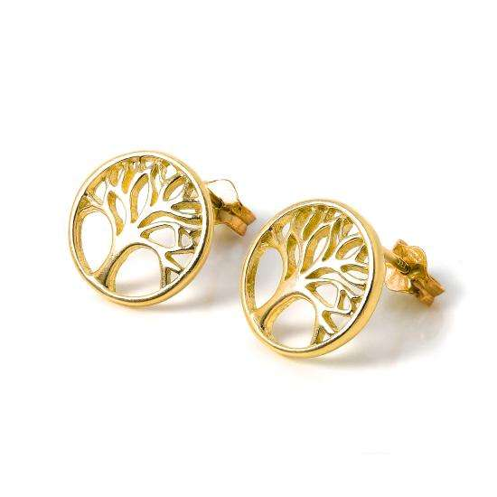 Gold Plated Sterling Silver Tree of Life Stud Earrings