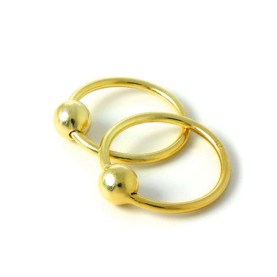 Gold Plated Sterling Silver 15mm Sleeper Hoop Earrings with 4mm Bead Hoops