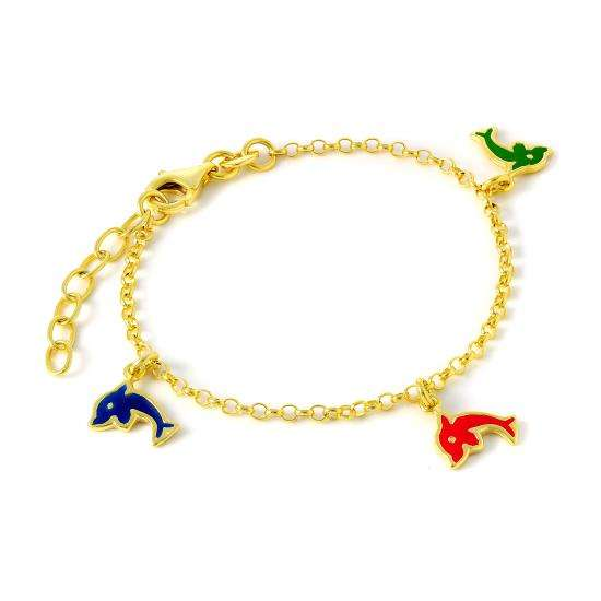 Gold Plated Sterling Silver Rolo Charm Bracelet with Enamel Dolphins
