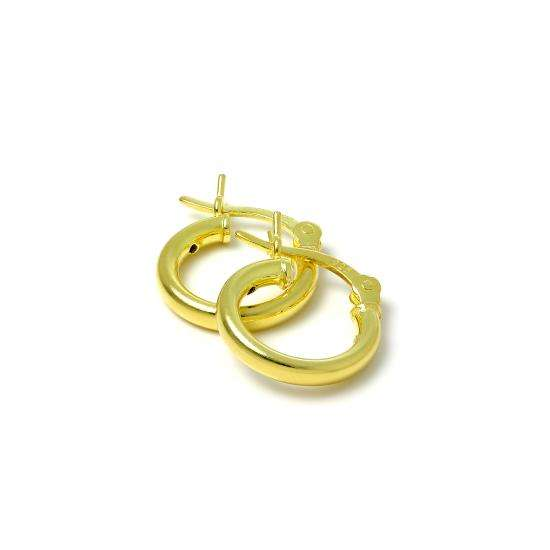 Gold Plated Sterling Silver 2mm Tube Sleeper 12mm Hoop Earrings