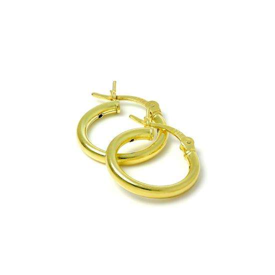 Gold Plated Sterling Silver 2mm Tube Sleeper 15mm Hoop Earrings