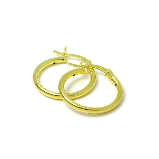 Gold Plated Sterling Silver 2mm Tube Sleeper 20mm Hoop Earrings