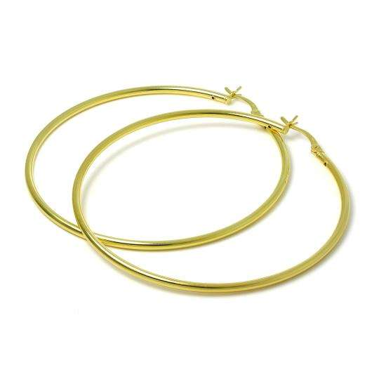 Gold Plated Sterling Silver 2mm Tube Sleeper 60mm Hoop Earrings