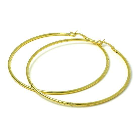 Gold Plated Sterling Silver 2mm Tube Sleeper 70mm Hoop Earrings