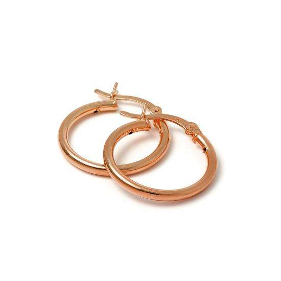 Rose Gold Plated Sterling Silver 2mm Tube Sleeper 20mm Hoop Earrings