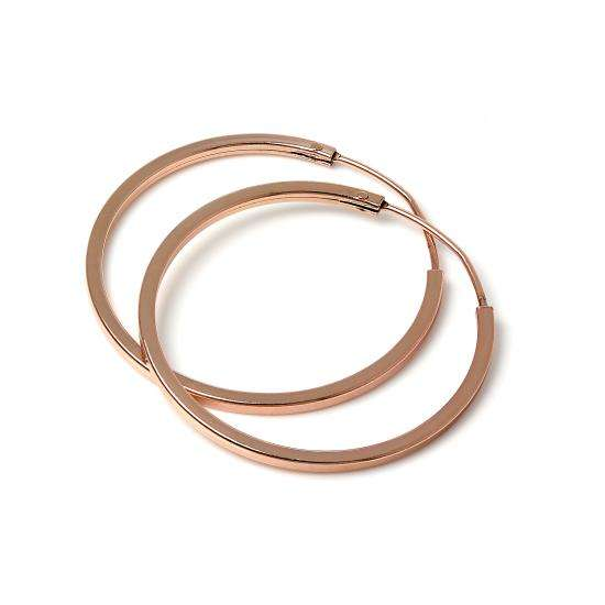 Rose Gold Plated Sterling Silver 1mm Square Sleeper 25mm Hoop Earrings
