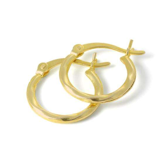 Gold Plated Sterling Silver 15mm Warped Tube Sleeper Hoop Earrings