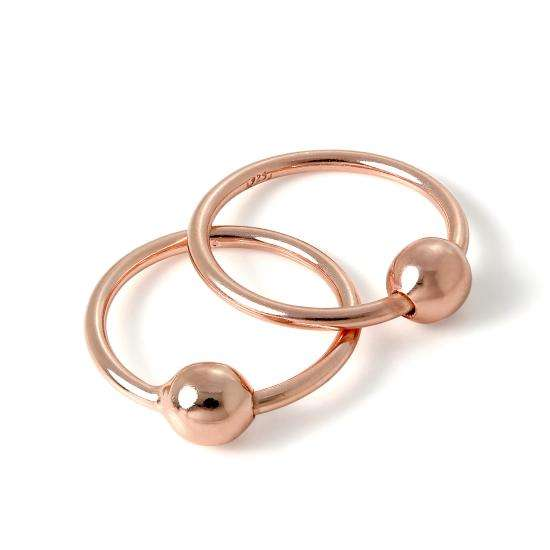 Rose Gold Plated Sterling Silver 15mm Sleeper Hoop Earrings with 4mm Bead Hoops