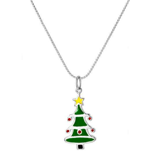 Sterling Silver Enamelled Christmas Tree Pendant Necklace 16 - 22 Inches