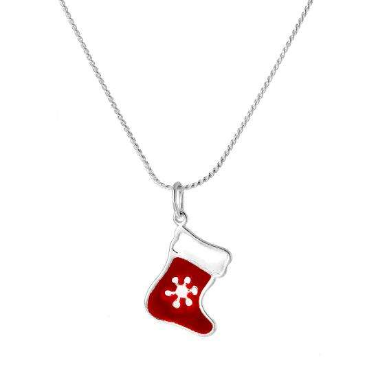 Sterling Silver Enamelled Red Christmas Stocking Pendant Necklace 16 - 22 Inches