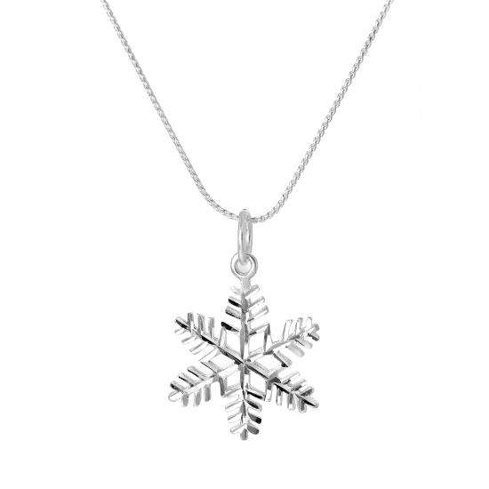 Large Sterling Silver Diamond Cut Snowflake Pendant Necklace 16 - 22 Inches
