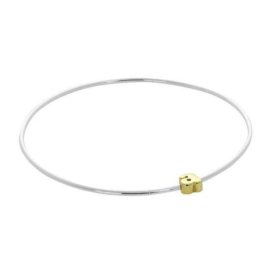 Light Sterling Silver Stacking Bangle with Letter A Bead