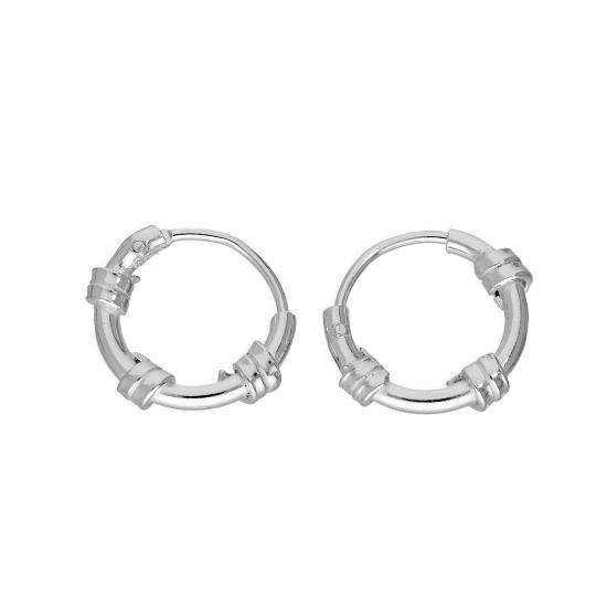 Sterling Silver Tiny 11mm Bali Hoop Earrings