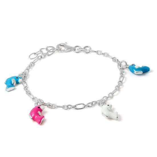 Childrens Sterling Silver Dolphin Charm Bracelet