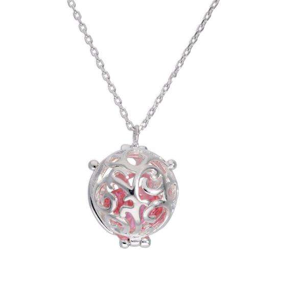 Sterling Silver Filigree Sphere Locket with Pink CZ Crystal