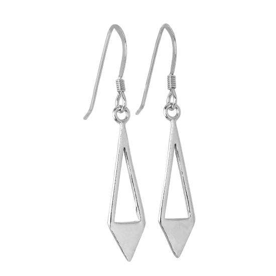 Sterling Silver Open Triangle Diamond Shape Drop Earrings
