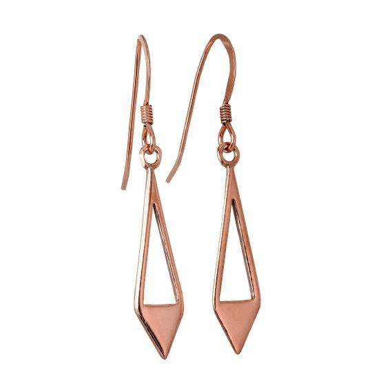 Rose Gold Plated Sterling Silver Open Triangle Diamond Shape Drop Earrings
