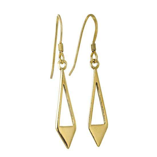 Gold Plated Sterling Silver Open Triangle Diamond Shape Drop Earrings