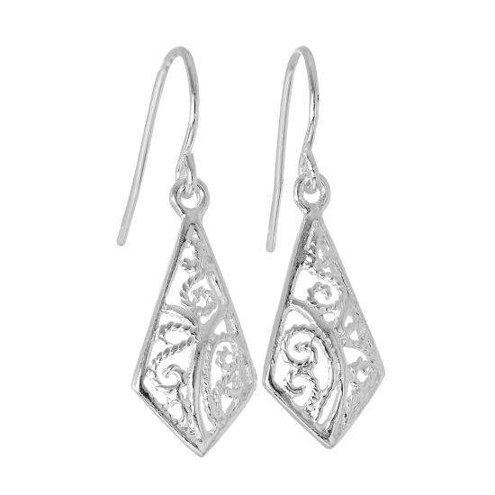 Sterling Silver Filigree Diamond Shaped Leaf Dangle Earrings