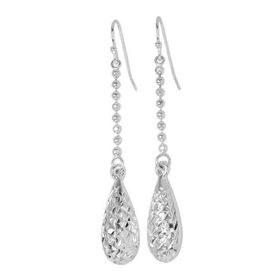 Sterling Silver Diamond Cut Pear Shaped Dangle Earrings