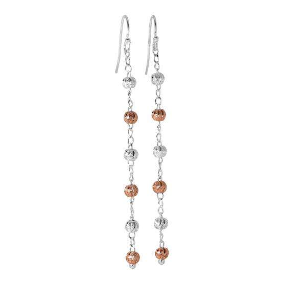 Rose Gold Plated Sterling Silver Bead & Chain Dangle Earrings