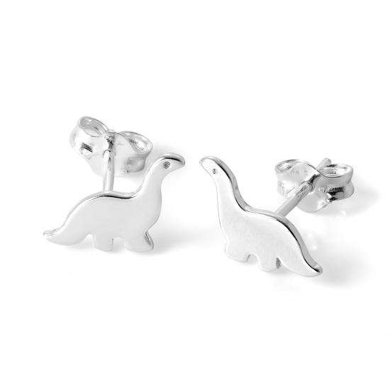 Simple Sterling Silver Dinosaur Stud Earrings