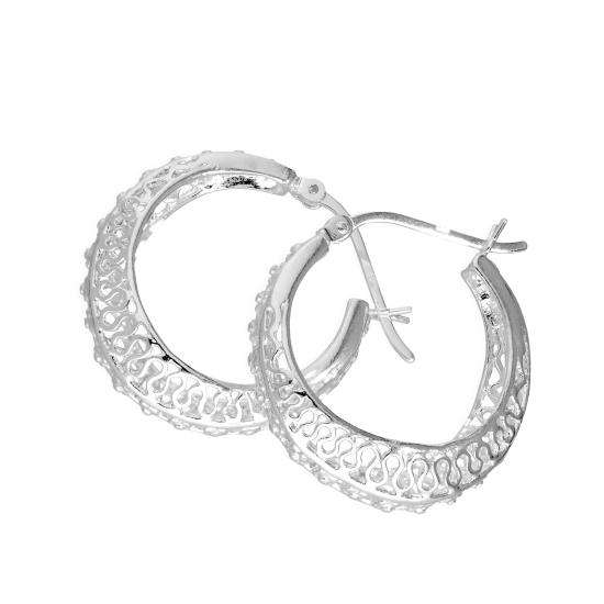 Sterling Silver Thick Patterned Creole Hoop Earrings