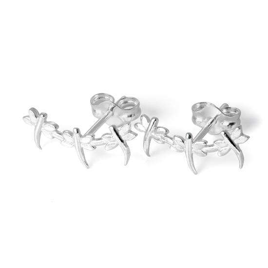 Small Sterling Silver Triple Dragonfly Stud Earrings