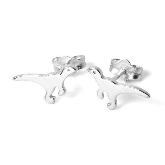Sterling Silver T-Rex Stud Earrings